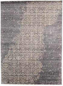 Damask Indiai Szőnyeg 268X365 Modern Csomózású Világosszürke/Sötétbarna/Sötétszürke Nagy (Gyapjú/Bamboo Selyem, India)