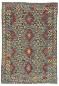 Kilim Afgán Old Style Szőnyeg 124X178 Keleti Kézi Szövésű Sötétzöld/Sötétbarna (Gyapjú, Afganisztán)